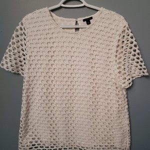 Ann Taylor White Crocheted Top with Lining
